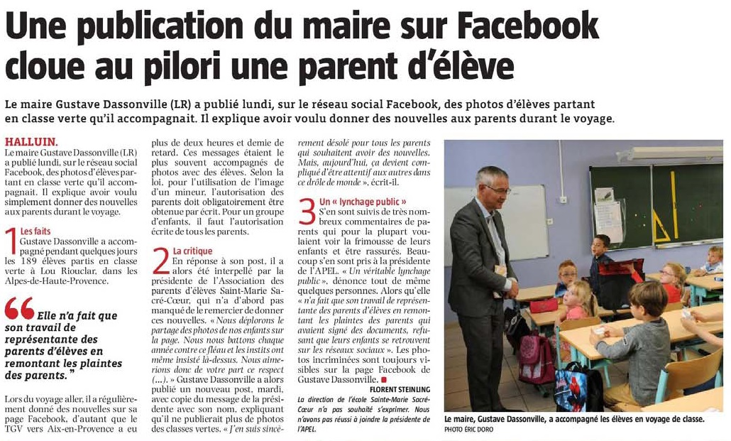 20180928 Facebook photo lves Maire VdN revue de presse