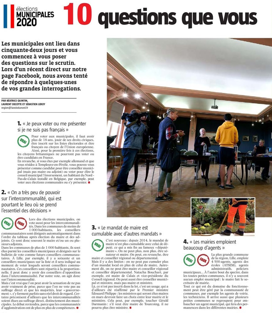 20200123 Municipales Question 1 VdN revue de presse