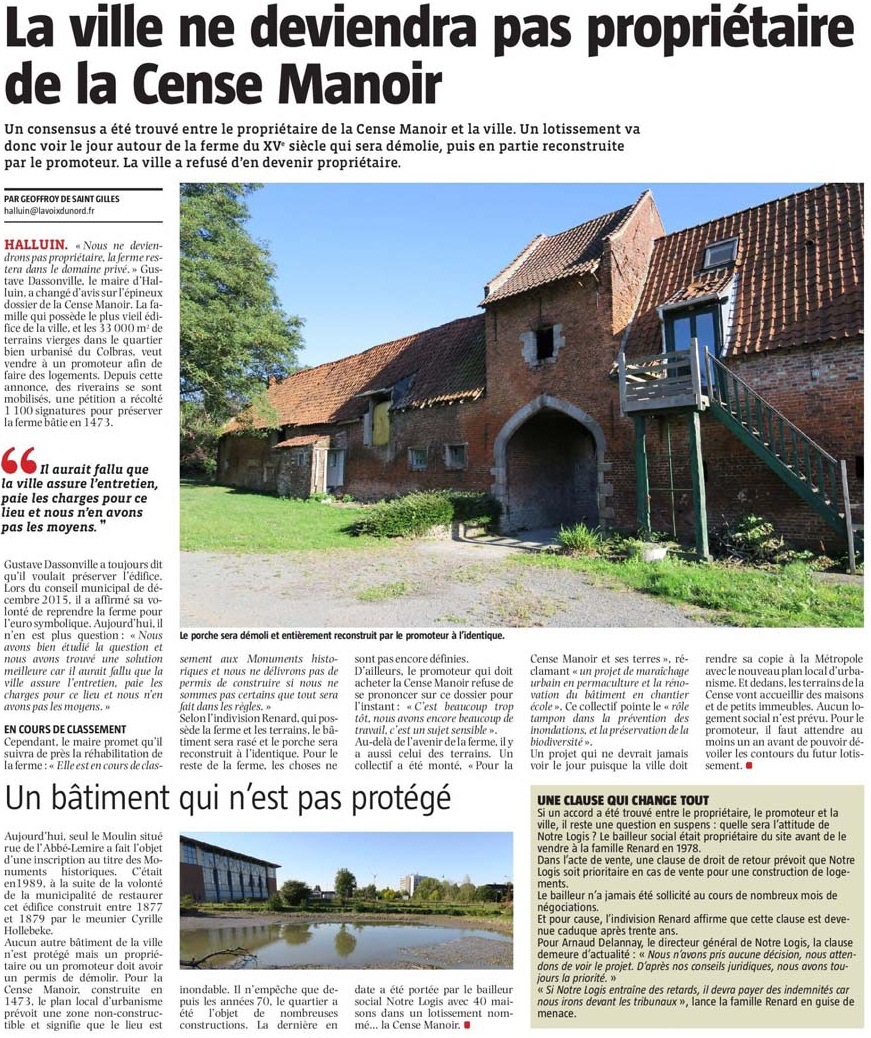 170516 Cense Manoir Bon article 2 VdN revue de presse